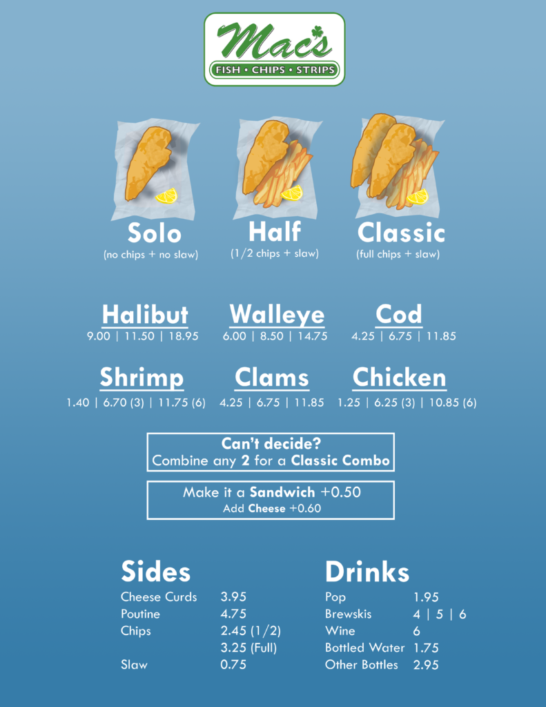 Menu mac 39 s fish chips strips serving the twin for Mac s fish and chips